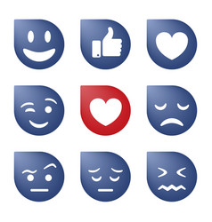 Emoji icons funny faces with different emotions vector