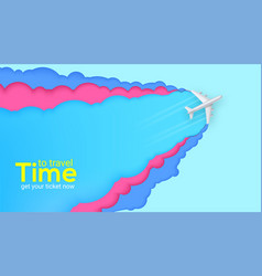 flying airplane on cut out colored background vector image