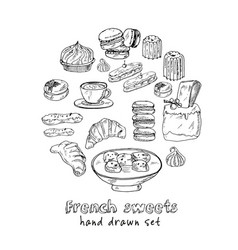 french sweets set with food and drink hand vector image