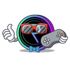 Gamer request network coin mascot cartoon vector