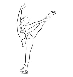 girl figure skater figure skating black and vector image