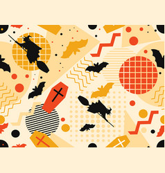 halloween seamless pattern in memphis style vector image