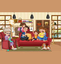 Happy family in living room scene vector