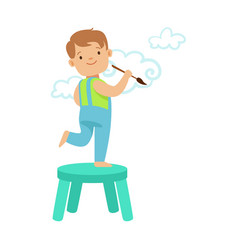 happy smiling little boy standing on a chair and vector image