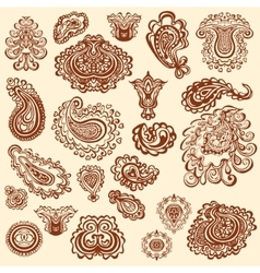 Henna tattoo doodle elements on white vector