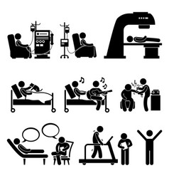 Hospital medical therapy treatment stick figure vector