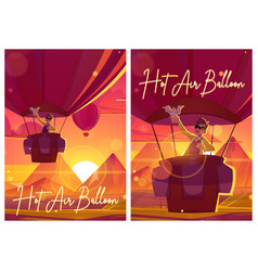 hot air balloon with man and dove at sunset vector image