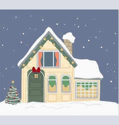 house covered with snow xmas decor outside vector image
