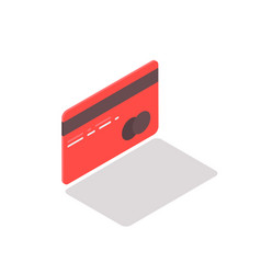 isometric credit card against vector image