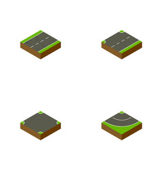 Isometric road set of cracks crossroad upwards vector