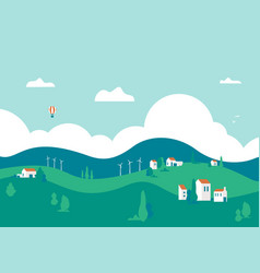 landscape with trees houses and hills vector image