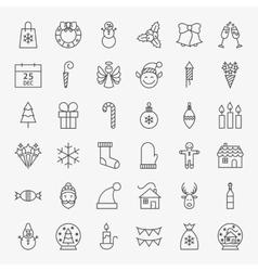 Line christmas icons set vector