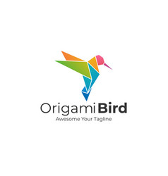 Logo origami humming bird gradient colorful vector