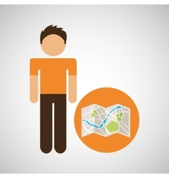 Male character traveler map location vector
