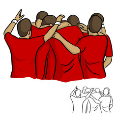 male soccer team in red jersey shirt celebrating vector image