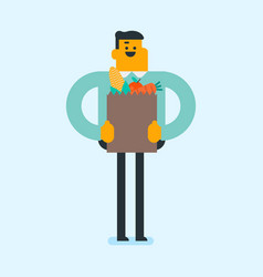 Man holding shopping bag with healthy food vector