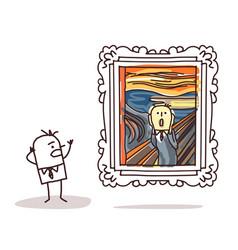 Man watching scream imitation vector