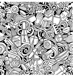 Manicure hand drawn doodles seamless pattern vector