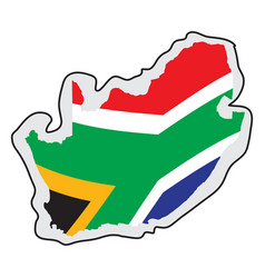 map of south africa with its flag vector image