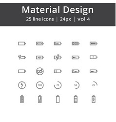 Material design battery line icons vector