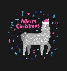 Merry christmas lama vector