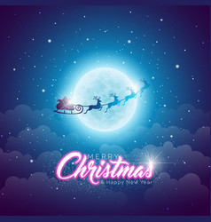 Merry christmas with flying santa in vector