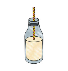 Milk bottle icon vector