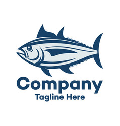 modern marine tuna fish and fishing logo vector image