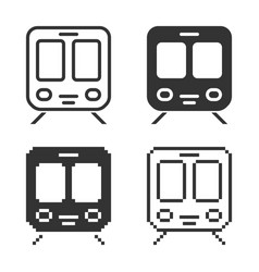 Monochromatic train icon in different variants vector