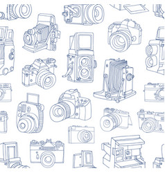 Monochrome seamless pattern with old and digital vector