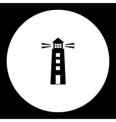 Navigation lighthouse on the sea black simple icon vector