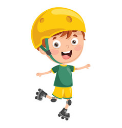 of kid roller skating vector image