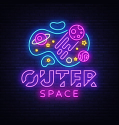 Outer space neon sign space design vector