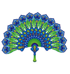 peacock feathers fan vector image