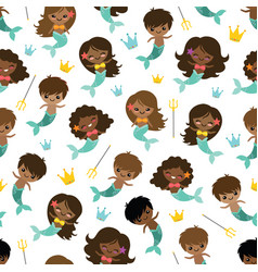 people of color mermaids and mermen vector image