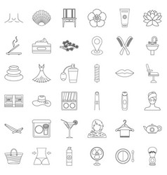 perfume icons set outline style vector image