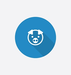 Pig flat blue simple icon with long shadow vector