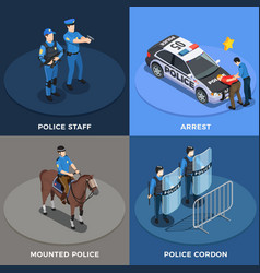 police concept icons set vector image