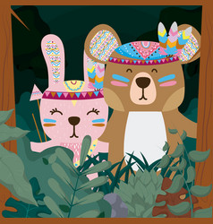 Rabbit and bear cute hippie cartoon vector