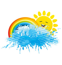 Rainbow with sun and splash of water vector