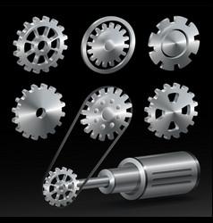realistic industrial gear set vector image