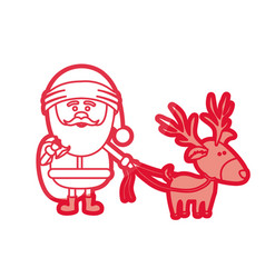 Red silhouette of santa claus with gift bag and vector