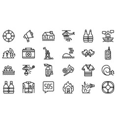 Rescuer icons set outline style vector