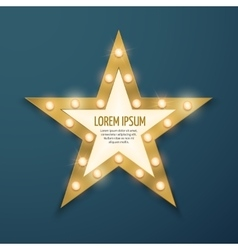 Retro gold star light vintage frame banner vector image