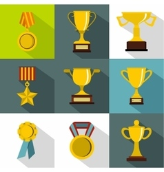 Rewarding icons set flat style vector image vector image