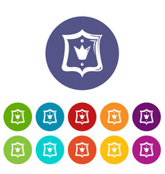royal shield icons set color vector image