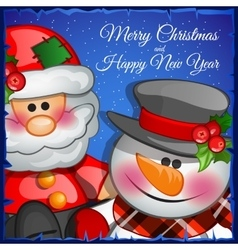 Santa Claus and snowman closeup vector image