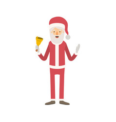 Santa claus caricature full body holding a bell vector
