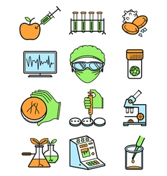 Science and genetic laboratory icons set vector