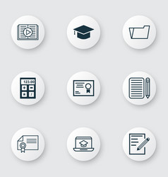 set of 9 school icons includes certificate vector image vector image
